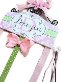Hair Bow Holder - Pink & Green