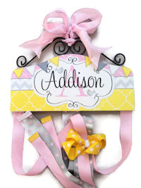 Hair Bow Holder - Birds Flags Chevron - Yellow Pink Grey