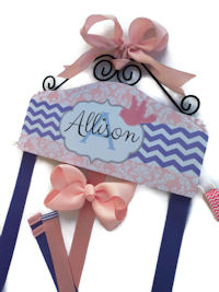 Hair Bow Holder - Chevron & Damask - Pale Pink and Lavender