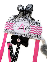 Hair Bow Holder - Black Scroll and Chevron - Hot Pink