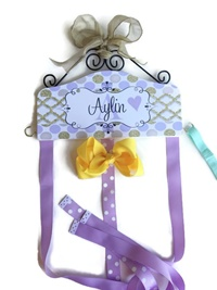 Hair Bow Holder - Gold Shimmer and Lavender