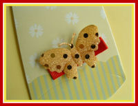 Back to School - Gold Butterfly on Red