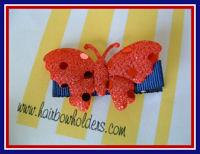 Back to School - Red Butterfly on Navy
