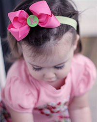 Monogrammed Bow + Headband Kit - Hot Pink with Lime Green Center (live model)