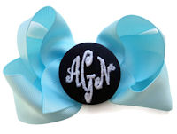 Basic Bows - 3 LETTER MONOGRAM - Baby Blue and Navy