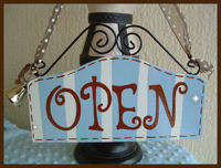 Boutique Sign - OPEN & CLOSED Baby Blue & Chocolate Brown STRIPES