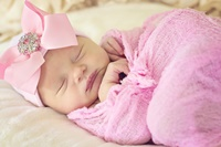 NEWBORN CAP - Monogrammed Bow - Pink Bow with Bling