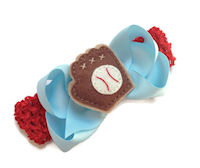 Take Me out to the Ball Game! Felt Mitt Bow + Headband Kit - Light Blue, Red and Brown