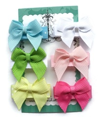 Infant Hair Pretties - Set of 6 - Colorful Mini Bows II