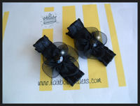 Black Posh Flowers on Black Lacey Ribbon