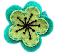 FELT CLIP - Blair - Teal and Lime Green