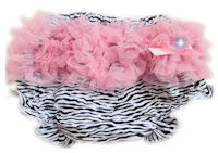 Princess Bloomers - ZEBRA with Baby Pink Tulle