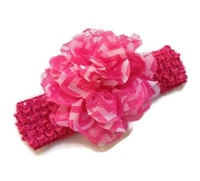 Chiffon Flower Headband - Chevron Lace - Hot Pink
