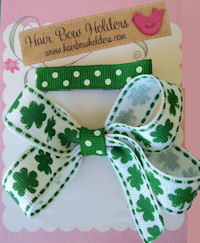 Bow - St Patricks Day - Clover Bow SET