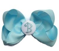 Hair Bow MONOGRAM - Baby Blue