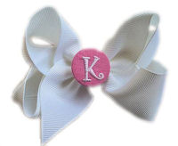 Hair Bow MONOGRAM - White and Pink