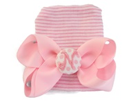 NEWBORN CAP - Personalized Bow - Baby Pink