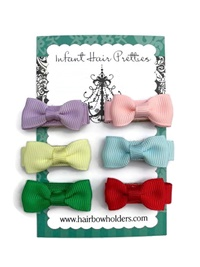 Infant Hair Pretties - Set of 6 - Traditional Bow-Tie Bows - Set II