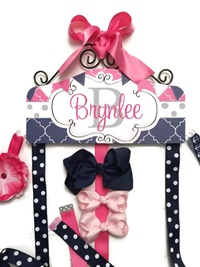 Hair Bow Holder - Flags Dots Moroccan - Soft Grey Hot Pink Navy Blue