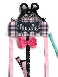 Hair Bow Holder - Designer Diva - Plaid Pink Black