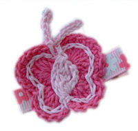 CROCHET CLIP - Butterfly - 2 tone Pinks!