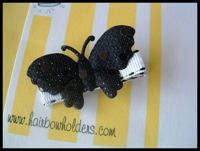 Butterfly - Black Sequins (Large) on White Stitch