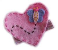 FELT CLIP - Butterfly Buzz Heart - PINK