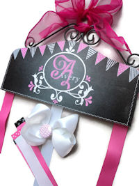 Hair Bow Holder - Chalkboard Art - Hot Pink