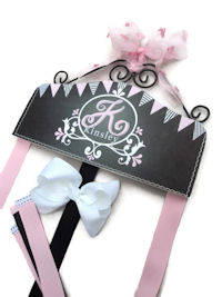 Hair Bow Holder - Chalkboard Art - Light Pink