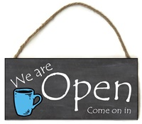 Boutique Sign - Open Closed - Black with Coffee Mug