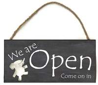 Boutique Sign - Open Closed - Black with Elephant