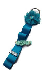 Chiffon Flower Simple Bow Holder - Teal