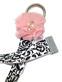 Chiffon Flower Simple Bow Holder - Black and White Damask