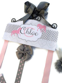 Emma Collection - Horses - Damask and Dots - Gray and Pink