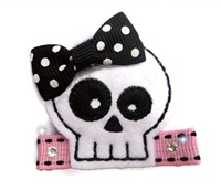 Felt Clip - Clarissa the Diva Skull Girl with Bling