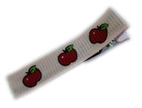 Cool Clips - Apples (on pale pink fabric)