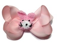 Funky Bows - Crochet Bunny - Light PInk