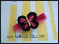 Crochet Butterfly - Hot Pink with Black