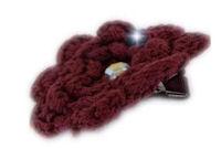 Crochet Flower with BLING - Red Wine