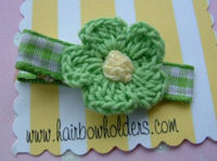 Crochet Flower Hair Clip - Green with Yellow Center on Gingham