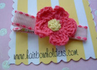 Crochet Flower Hair Clip - Hot Pink Yellow Center