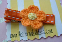 Crochet Flower Hair Clip - Orange Yellow Center on Orange Stitch