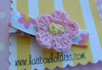 Crochet Flower Hair Clip - Pink Yellow Center on Pink Floral
