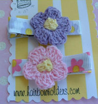 Crochet Flower Hair Clips - Set of 2 Pink Purple on Floral Print