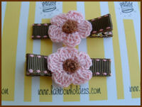 Crochet Flower Hair Clips - Pink / Brown Center on Brown Pink Stitch