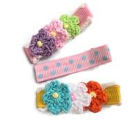 Set of 3 Mini Crochet and Plain Hair Clips