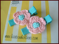 Crochet Flower Hair Clips - Pink /Turquoise Center on Turquoise