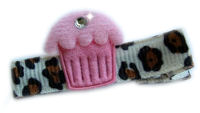 Cupcake Bling - Baby Pink Frosting on Cheetah Print with Bling!