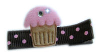 Cupcake Bling - Baby Pink Frosting on Brown Dots with Bling!