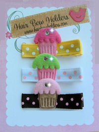 Cupcake Bling - SET of 3 Hair Clips with BLING!